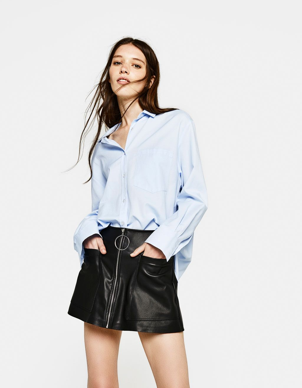 34168ad34 Falda pantalón efecto piel en 2019 | Camisetas | Bershka, Pantalones ...
