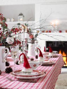 Diy Christmas Dinner Decor Idea Santa Hats