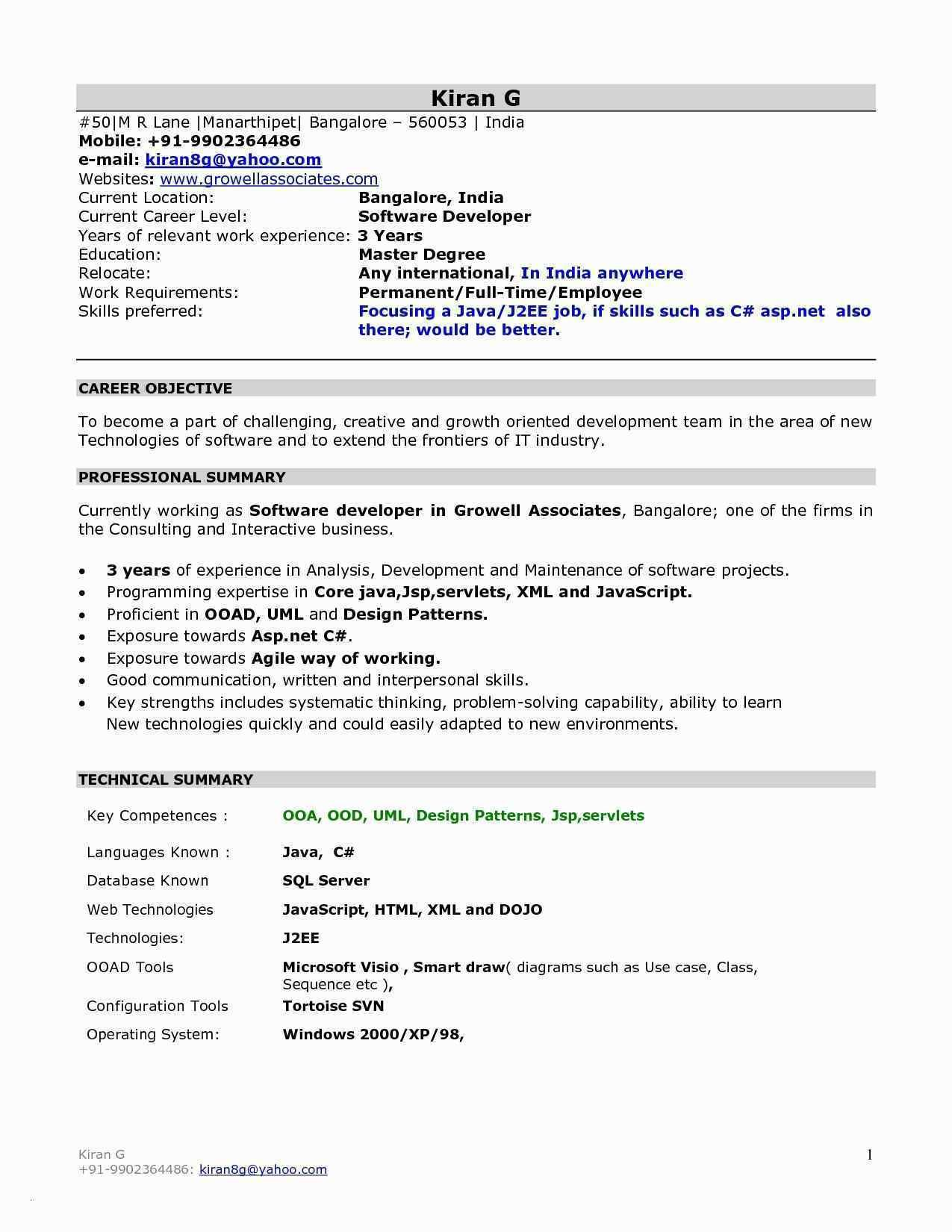 Experience Resume Format For Xml Developer Resume Format