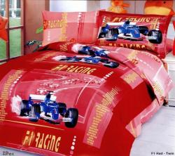 Red Hot and ready to be the center of attention in a boy's bedroom.  4 Piece set is deal of the day!  #boysbedding #kidsracecarduvet