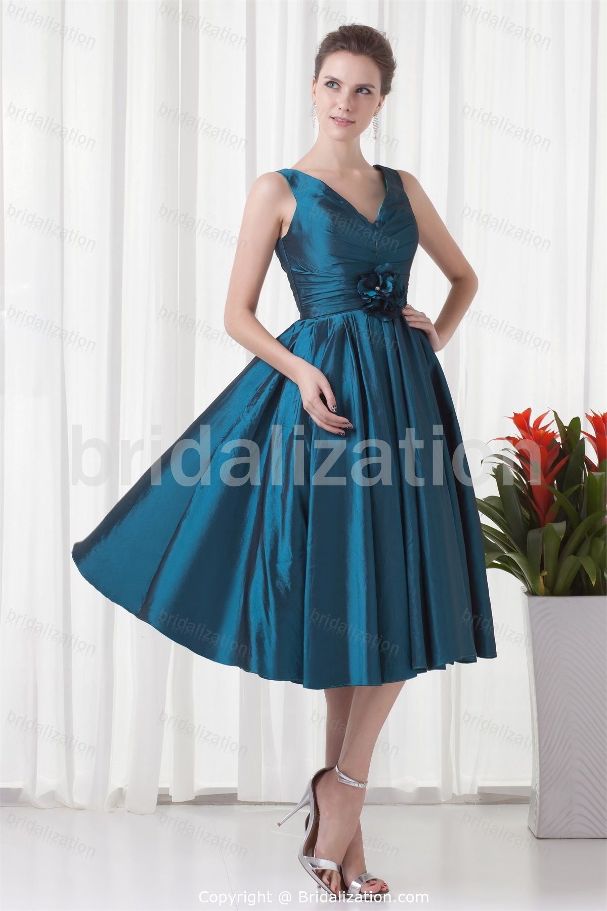 Midnight Blue Tea-Length A-Line Petite Fall Mother of the Bride ...