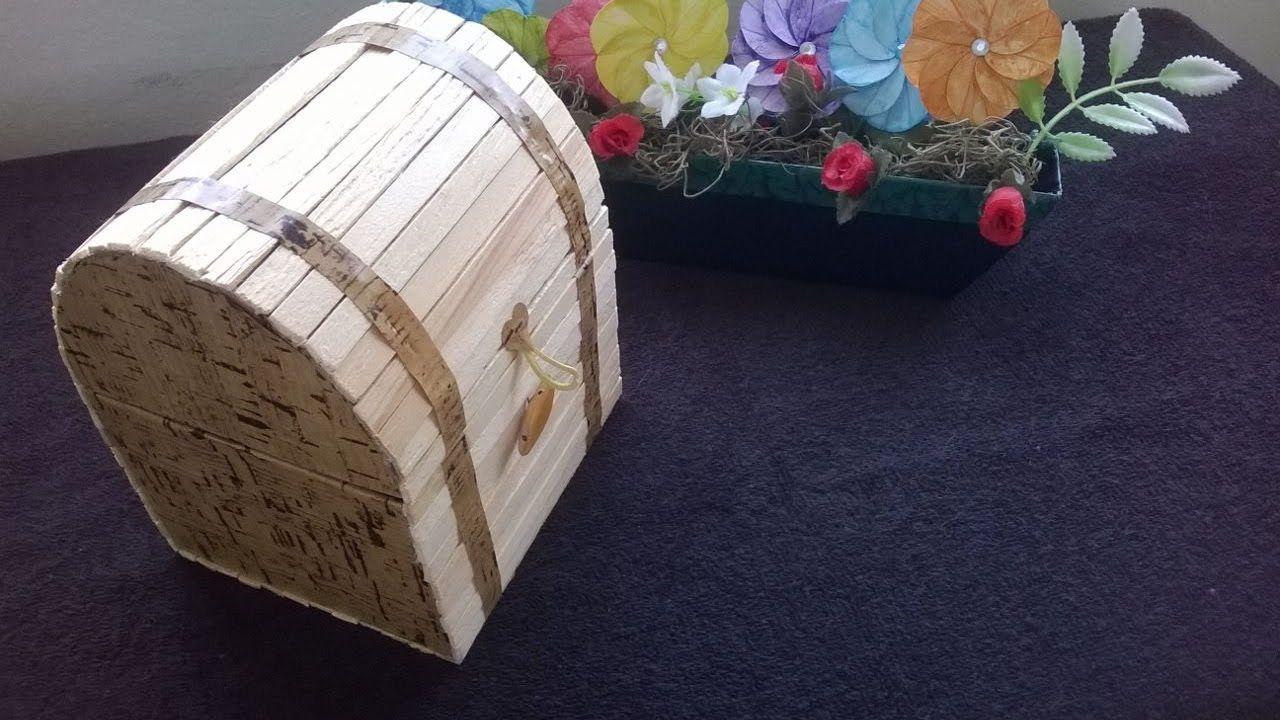 D I Y Como Fazer Um Mini Bau Com Palitos De Picole Palito De