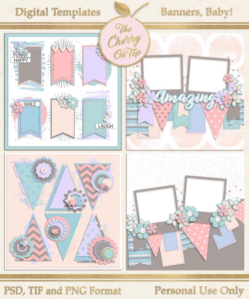 Banners Baby Digital Scrapbooking Templates Etsy Digital Scrapbooking Templates Scrapbook Templates Baby Scrapbook