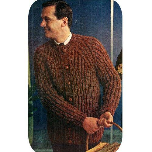 Mens Fisherman Rib Cardigan Sweater Pdf Knitting Pattern Vintage