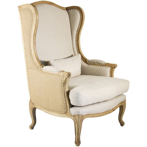Leon French Country High Back Linen Wing Chair ($1,740) ❤ liked on Polyvore featuring home, furniture, chairs, accent chairs, interior, highback chair, padded chairs, linen chair, provence furniture and french country chairs