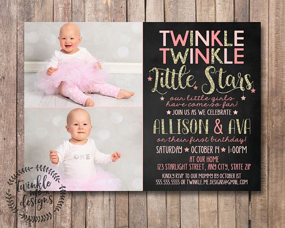 Twinkle Twinkle Little Star First Birthday Invitation Twinkle