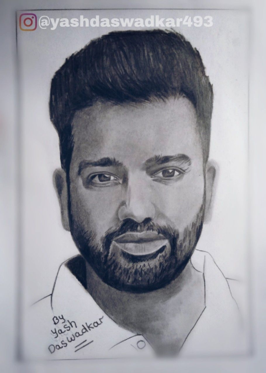Sketch of rohit sharma drawn by yash daswadkar