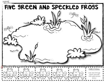 5 Green Speckled Frogs Subtraction Math Story Decomposing 5