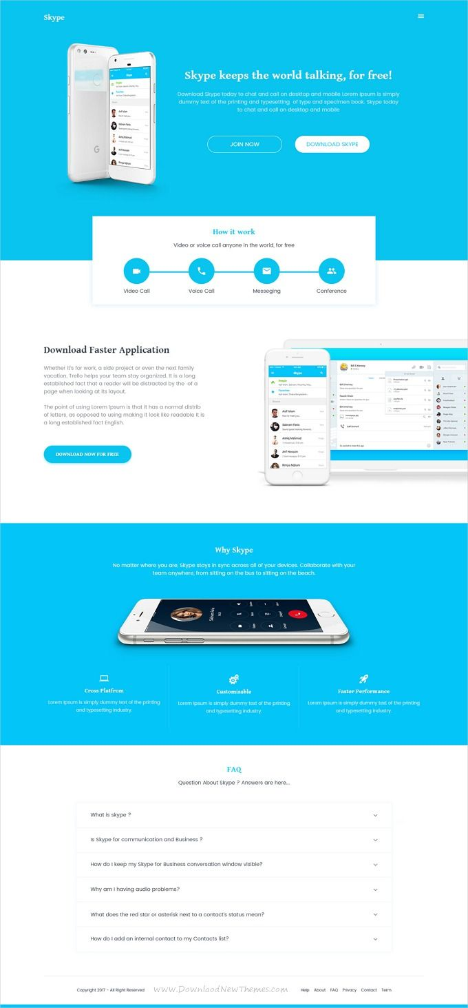 SaaSlab is clean and modern design PSD template for Skype