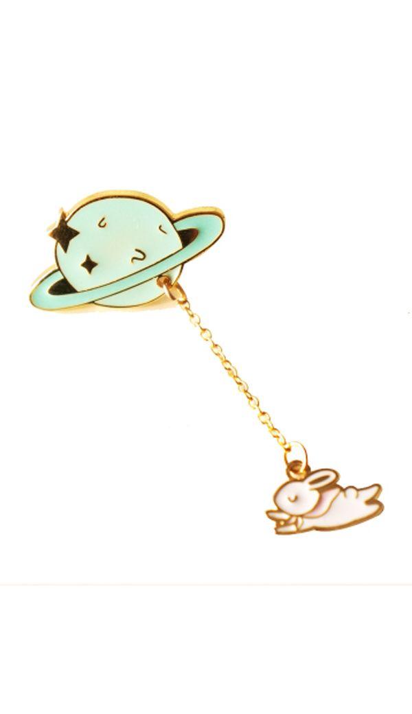 0cbd568a627 Planet bunny lapel pin brooch set   enamel pins   Brooch pin, Lapel ...