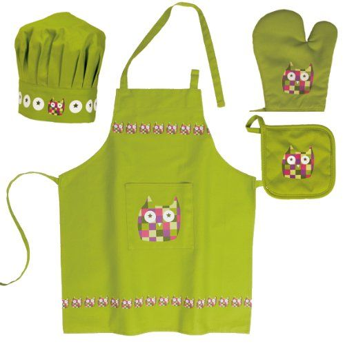 new cheap official shop great prices Kid set apron + chef's hat + glove + oven glove Green owl ...