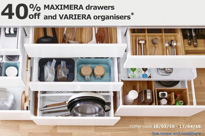 40% off Maximera and Variera kitchen drawers and drawer organisers ...