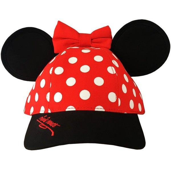 Minnie Mouse Disneyland Polka Dot Snapback Cap with Ears Disney Parks...  ( 39) ❤ liked on Polyvore featuring accessories 834ec20c5d95