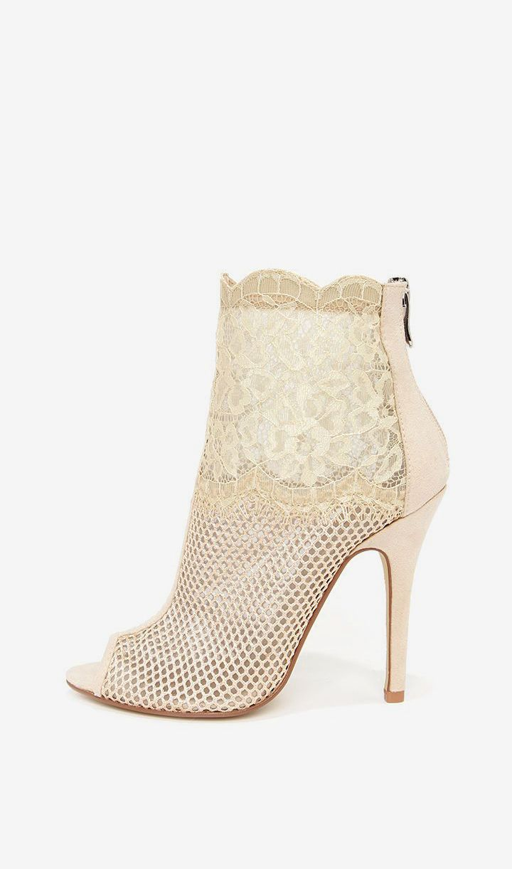 c2a81583ec Chinese Laundry Jeopardy Nude Mesh and Lace Booties Just Shop, Open Toe  Boots, Lace