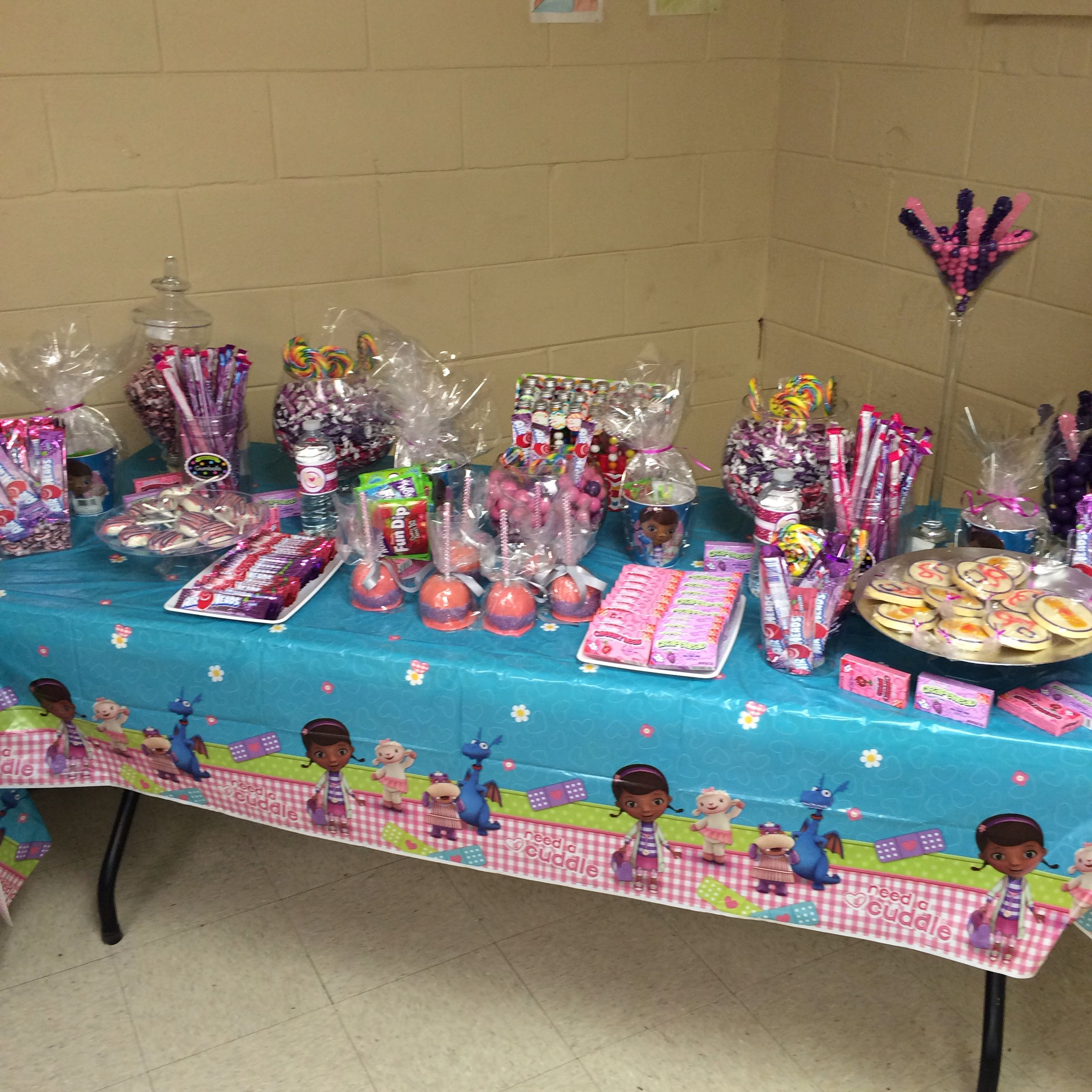 Candy Table at Haileys 3rd Doc Mcstuffins birthday party