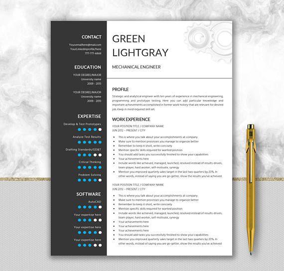 Engineer Resume Printable Template Editable in Word Gear Design