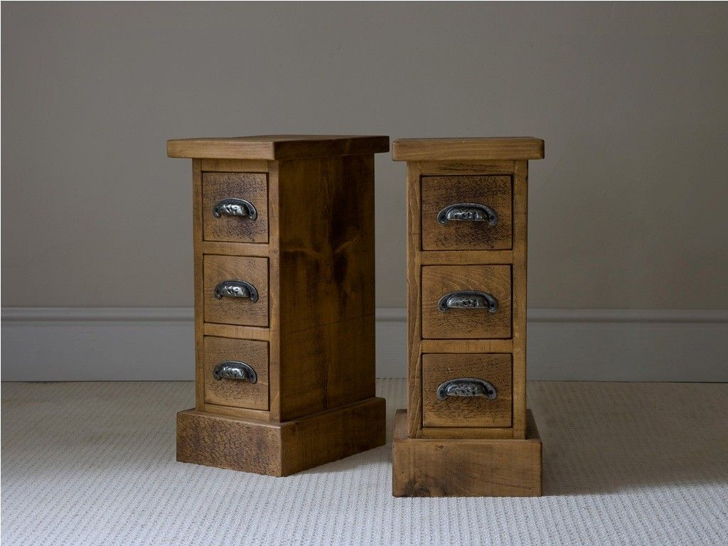old and vintage pair of small bedside nightstand table ideas made from wood with drawer and black metal handle ideas small nightstand ideas bedroom
