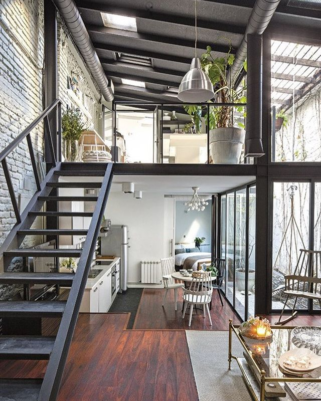 glass railing, metal stair for catwalk Cabin ideas Pinterest - industrial vintage wohnhaus loft stil