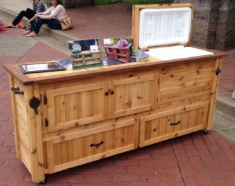 Rustic Cooler Cabinet Outdoor Bar Serving Table With Storage Drawers Add A Green Egg Do Joe Or Primo