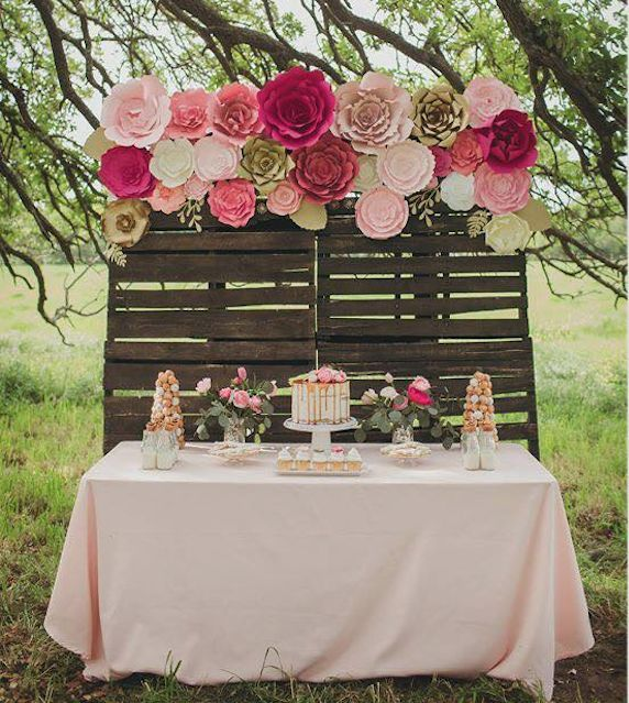 Large paper flower backdrop baby shower in 2018 centro de mesa creating a stunning paper flower backdrop for a wedding or any event can make a gorgeous statement your guests will talk about for years to come mightylinksfo