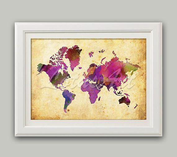 Purple World Map Print World Map Wall Art Travel Map Vintage Style ...