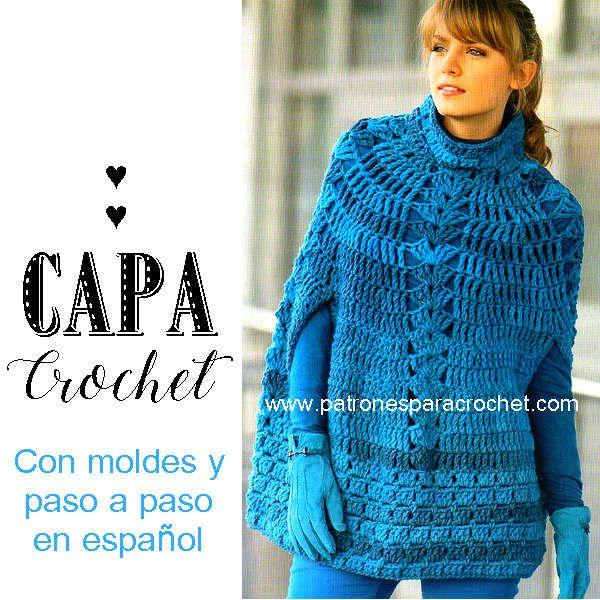 Capa crochet de lana gruesa para todos los talles | Como tejer ...