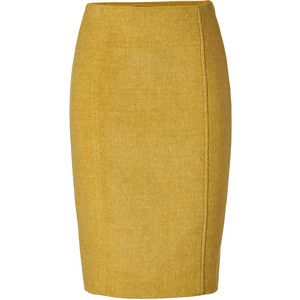 JONATHAN SAUNDERS Double Faced Wool Straight Skirt in Pea Green