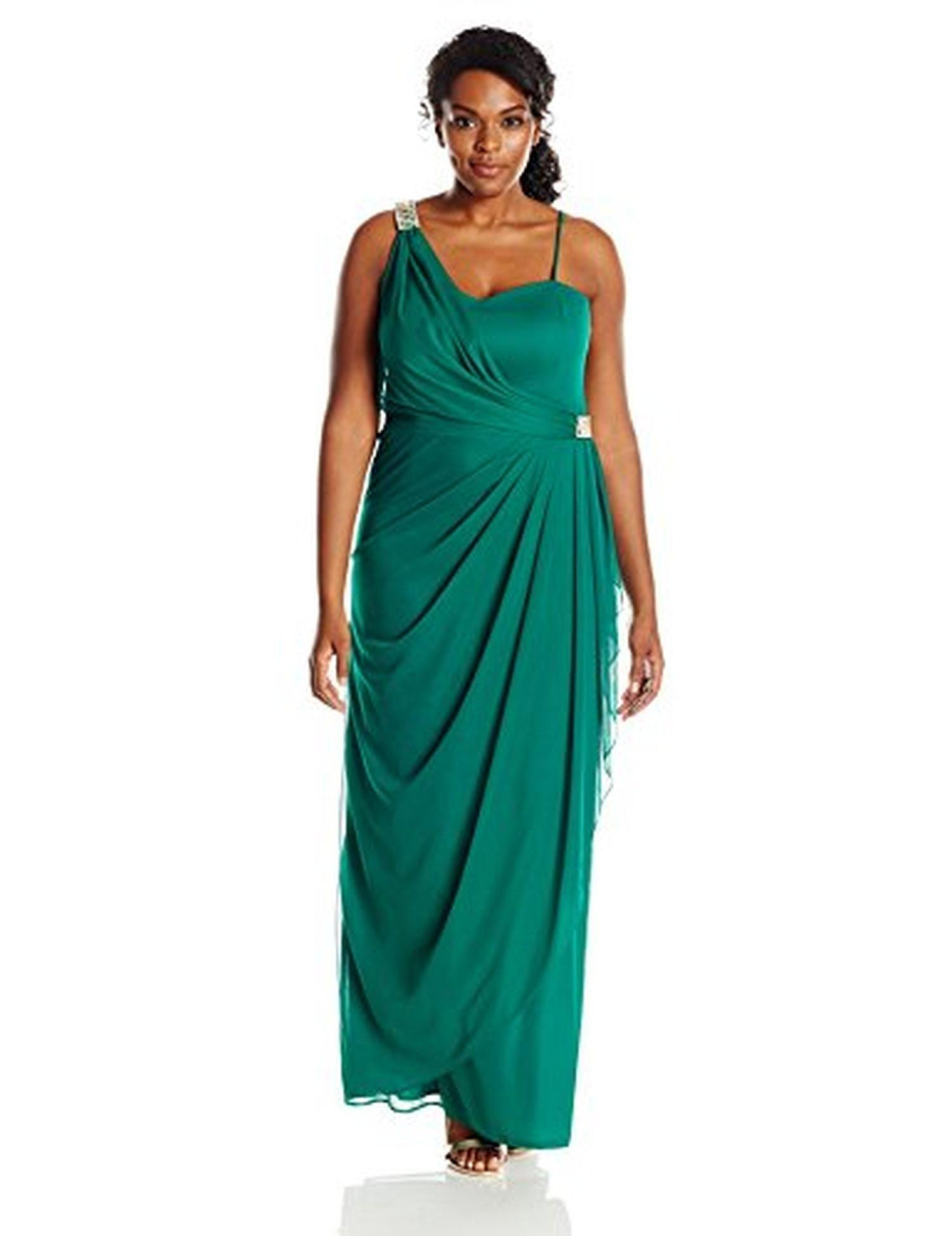 35ec8e8fd35d Xscape Women's Plus-Size Long 1 Shoulder Mesh with Trim, Emerald, 18W -  Brought to you by Avarsha.com
