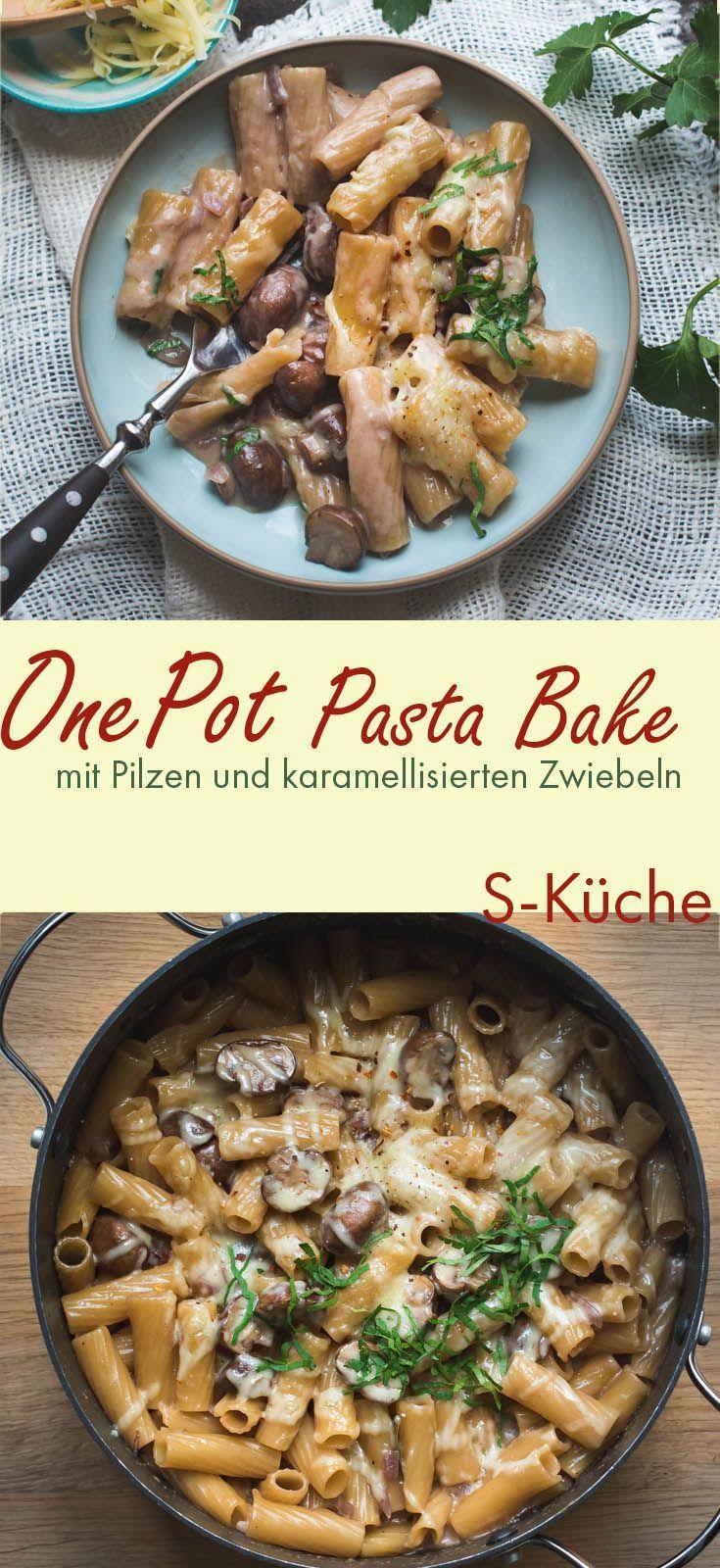 Cremige One Pot Pasta mit Pilzen, karamellisierten Zwiebeln -