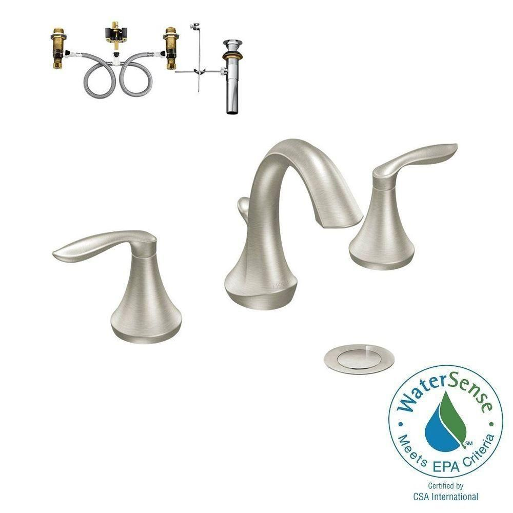 Moen Eva 8 In Widespread 2 Handle Bathroom Faucet Trim Kit With Valve In Brushed Nickel T6420bn 9000 Bathroom Faucets Faucet Bathroom Accessories