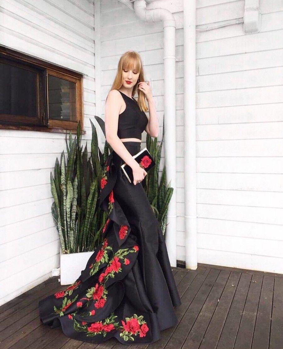Black Two Piece Rose Printed Mermaid Satin Prom Gown Best Prom Dresses Satin Prom Dress Prom Gown [ 1109 x 900 Pixel ]