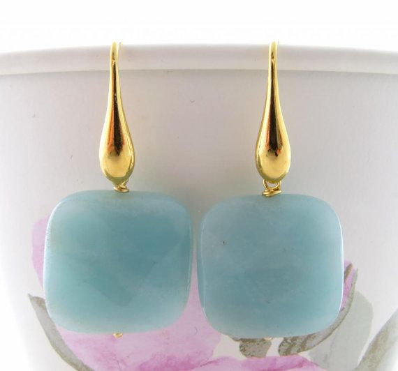 Light Blue Angelite Earrings With Golden Drops By Sofiasbijoux 31 00 Uk Square