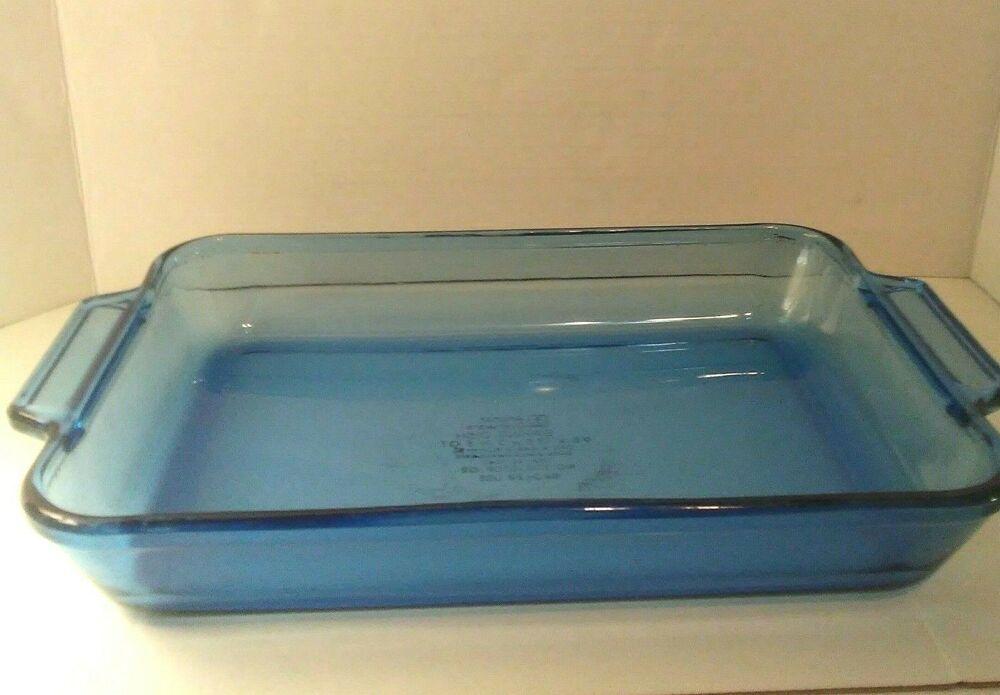 Details About Anchor Ovenware Vintage Blue Rectangular Baking Dish