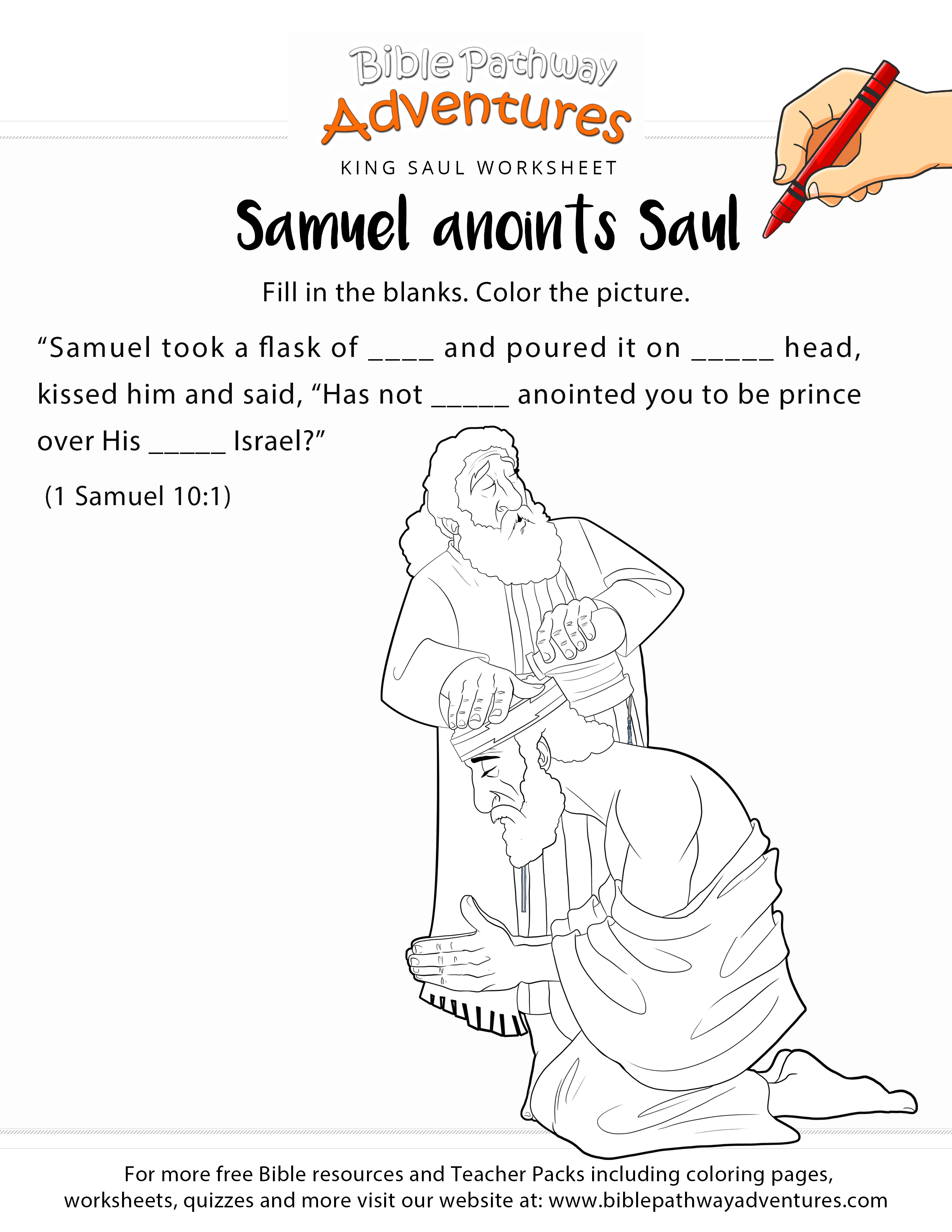 Samuel anoints King Saul worksheet & coloring page | Sunday school ...