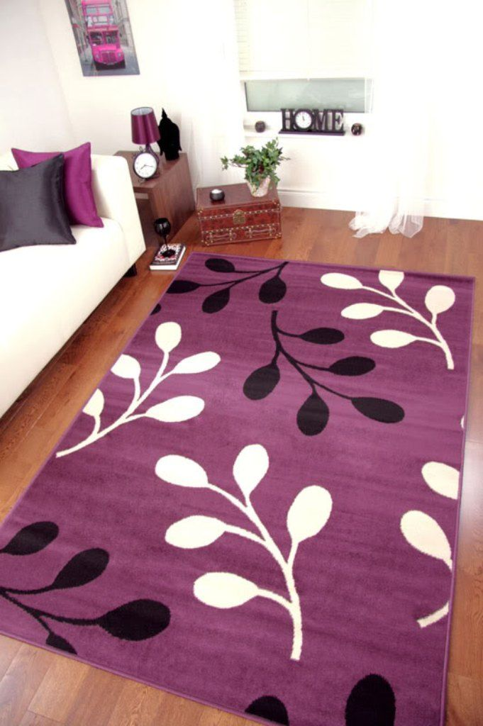 Purple Area Rug With White And Black Branches