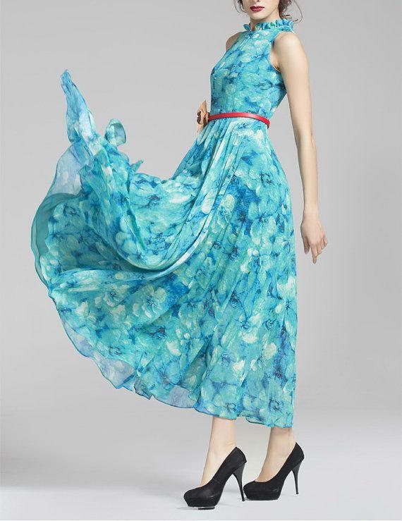 Spring summer chiffon long dress lady women clothing by handok,