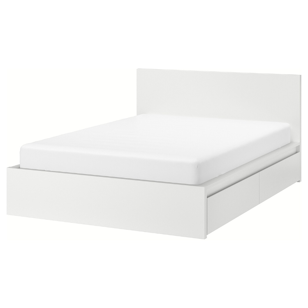 Malm High Bed Frame 4 Storage Boxes White Luroy Queen In 2020