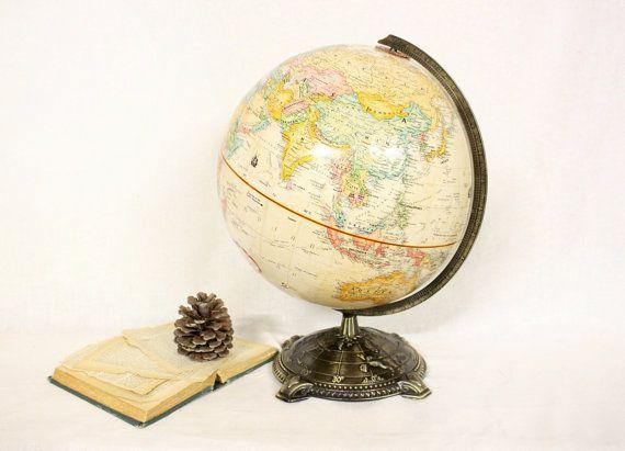 Vintage Globemaster 12 Inch Diameter Globe with by bygrassdoll, $65.00