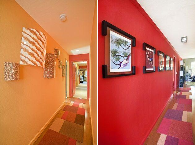 Flur Gestaltung Wohnideen Design rote orange Wände | Interior design ...