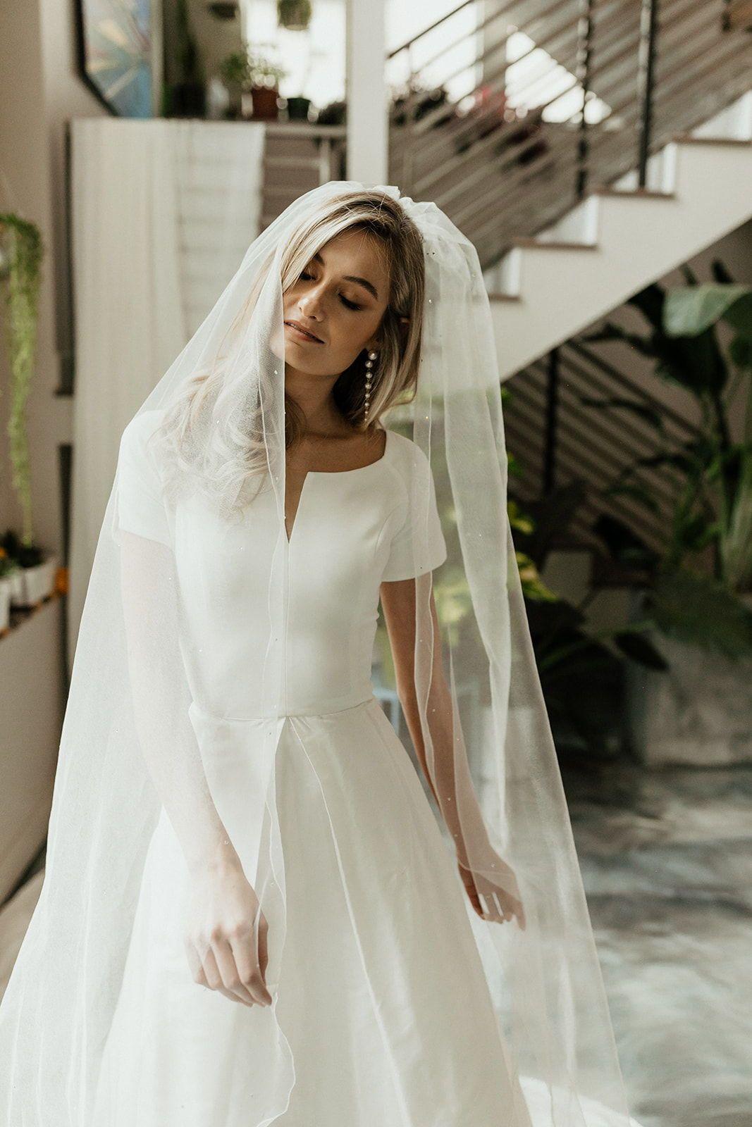 Minimal Classic Modest Short Sleeve Wedding Dress Modest Wedding Dresses Boat Neck Wedding Dress [ 1600 x 1067 Pixel ]