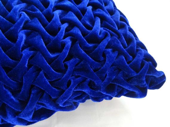 Decorative Royal Blue Velvet Throw Pillows Cover 16x16 Textured