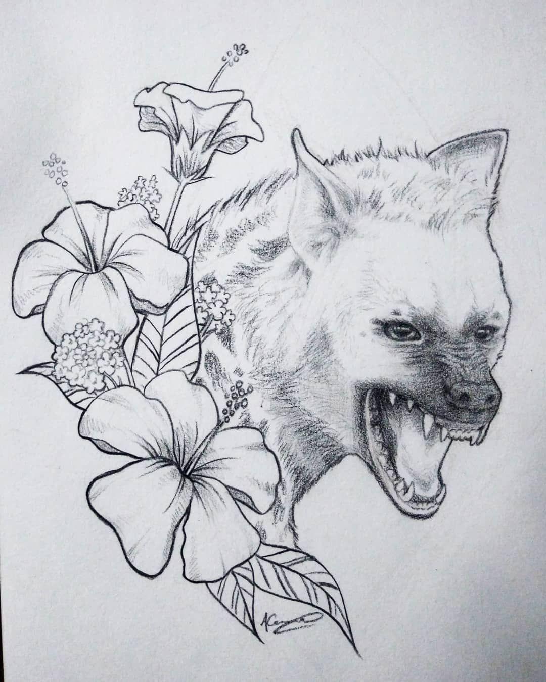 #sketchbook #drawing #art #tattoodesign #hyena #animal #blackandgrey #floral