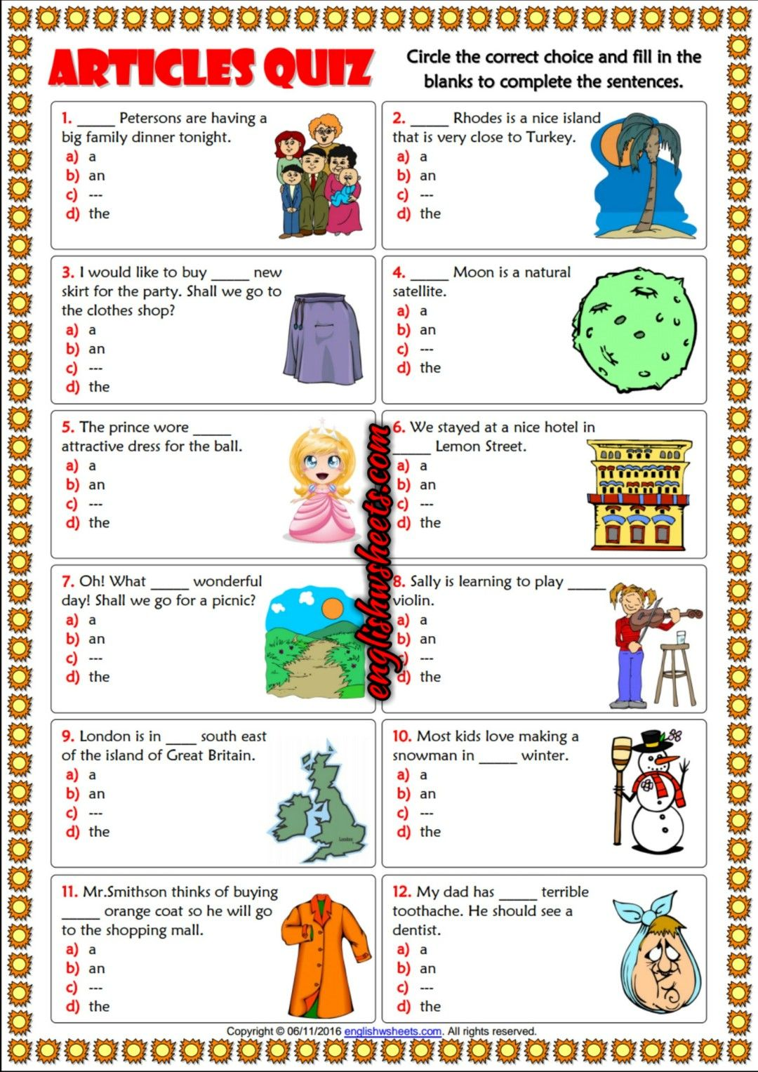 Articles ESL Printable Multiple Choice Quiz For Kids | Esl Printable ...