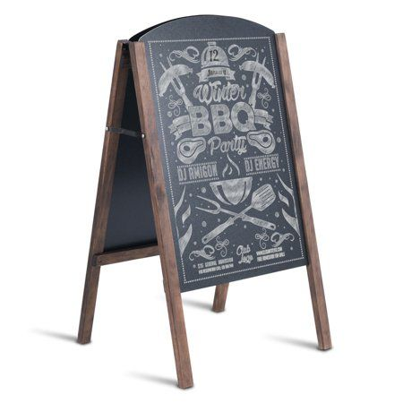 Costway 31.5'' Wood A-Frame Chalkboard Menu Sign Board Sidewalk Wedding Signage - Walmart.com
