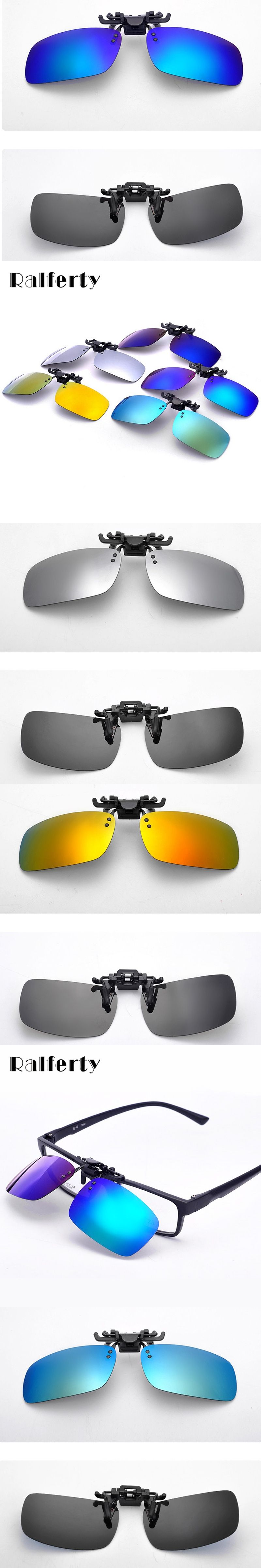 840d2cc2079c Ralferty Polarized Clip on Sunglasses Men Flip Up Polaroid Sun Glasses Lens  Coating Glasses Driving Sport Goggles Plastic Case