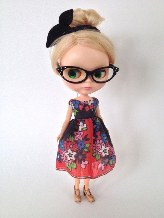 OOAK Vintage Hankie Dress for Blythe Doll