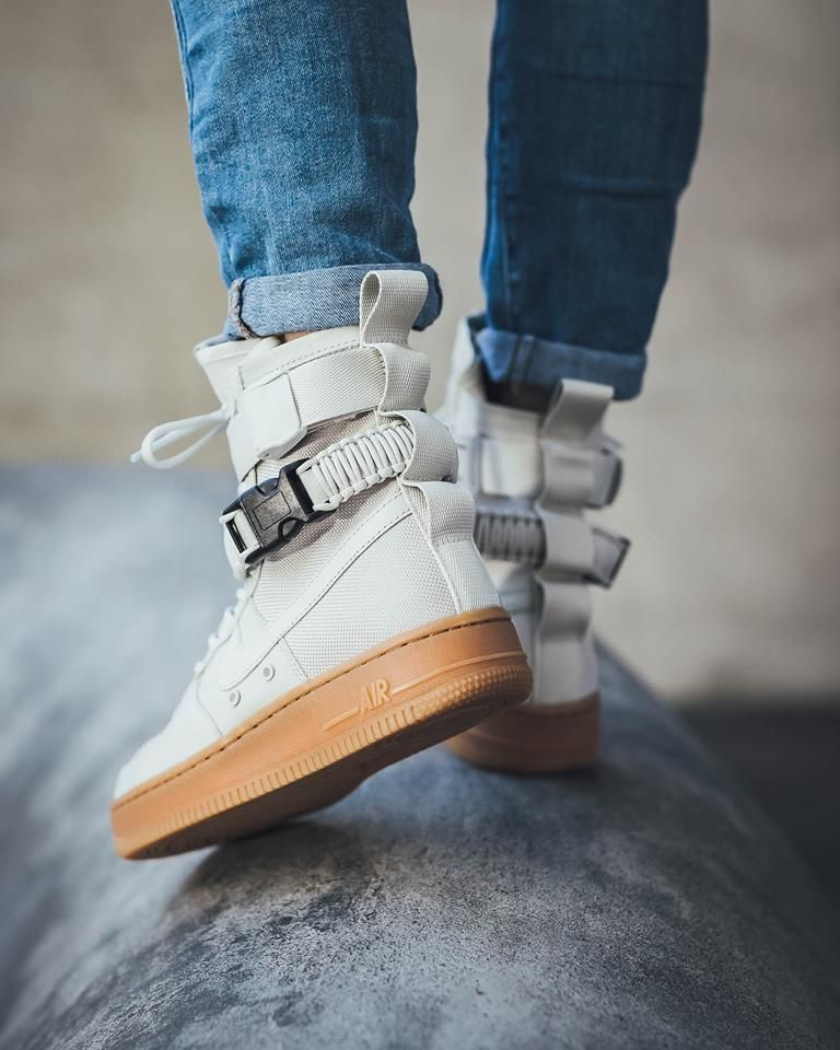 543765f2892d The Nike SF-AF1 High Light Bone is featured in a lifestyle look and it s