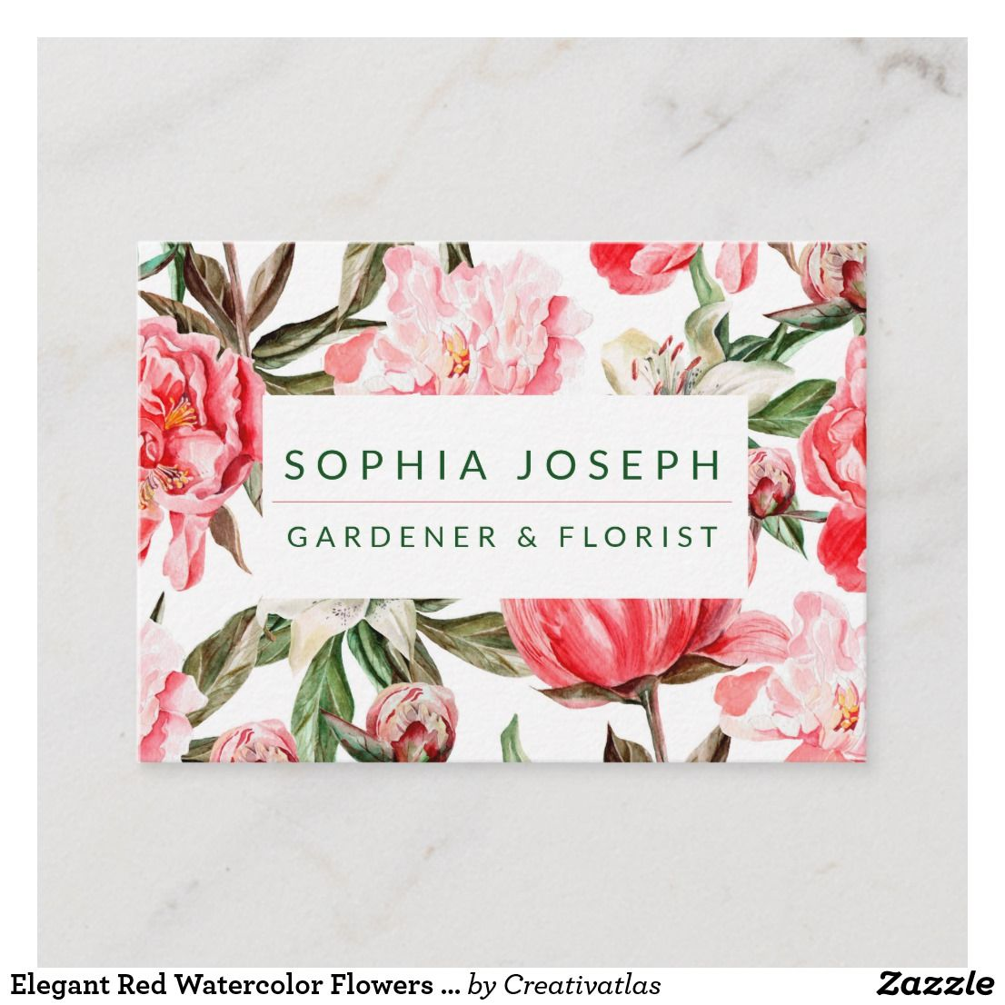 Floral Red Pink Watercolor Flowers Business Card Zazzle Com In 2021 Floral Business Cards Pink Watercolor Flower Flower Business