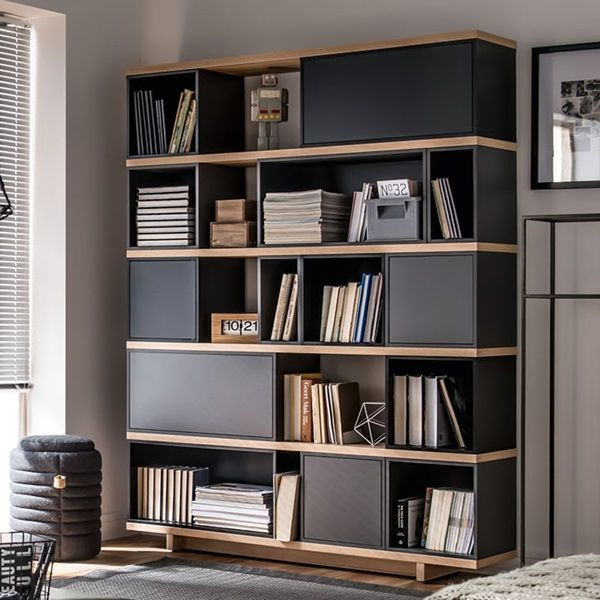 Balance Bookcase Grey Bookshelf Storage Cabinet Design Shelf