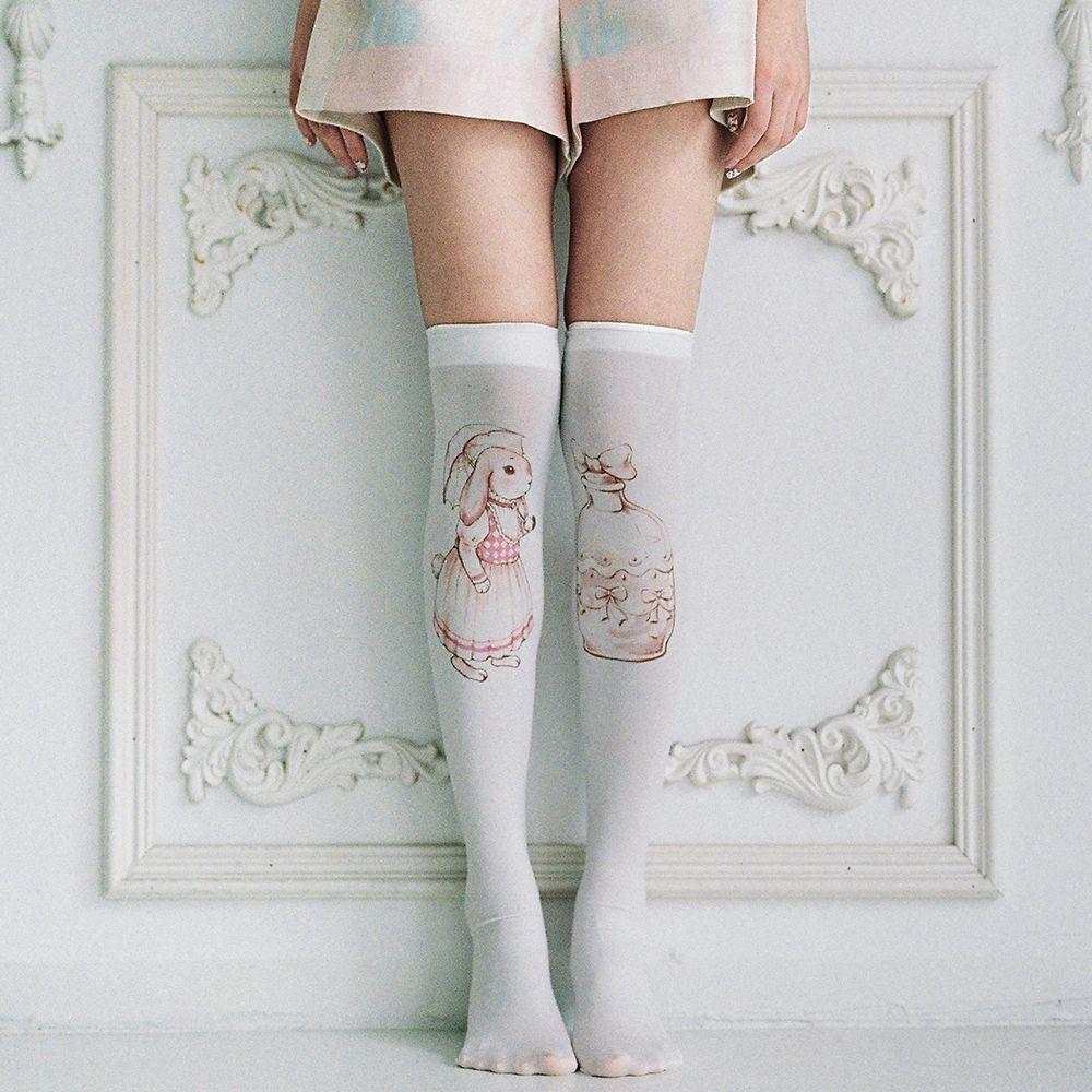 Mori Girl Dress Stockings on Mori Girl の森ガール.Mori Adorable Vintage Bunny Stockings Lolita Knee-High Hose make you more charming in your social activities.